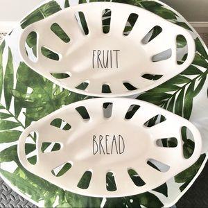 NWT Rae Dunn Bread Fruit Bowl White Set (2)